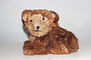 China-direkt Décoration naturelle - Petit ours allongé - Réalisé à la main en pommes de pin - 21cm