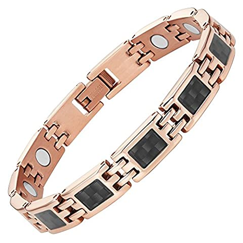 Willis Judd New Two Tone Ladies Titanium Magnetic Bracelet with Carbon Fiber Gift Boxed and Link Removal Tool