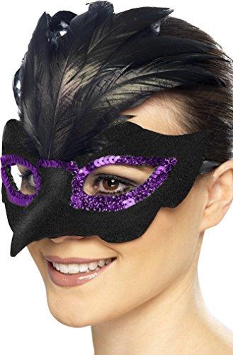 Smiffy's 27553 - Gothic Raven Maskerade Augenmaske mit (Raven Maske)