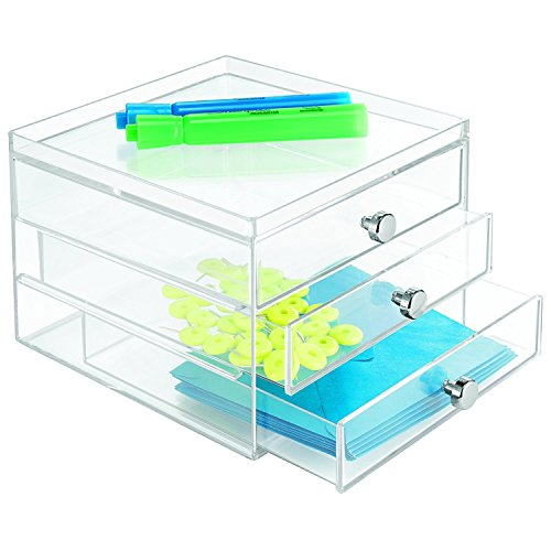 mDesign boite de rangement a tiroir – organiseur de bureau avec 3 tiroirs – trieur de bureau pratique pour un espace de travail en ordre – transparent