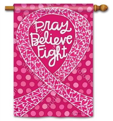 Think Pink Pray Believe Kampf Brustkrebs 71,1x 101,6cm Outdoor Flagge