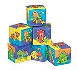 Playgro Badespielwürfel-Set, 6 Stück, Mit bunten Tiermotiven, Ab 6 Monaten, Würfelgröße: 7 x 7cm, Bunt, 40093