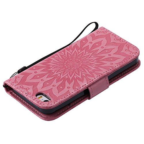 Für Apple IPhone 5s SE Fall, Prägen Sonnenblume Magnetic Pattern Premium Weiche PU Leder Brieftasche Stand Case Cover mit Lanyard & Halter & Card Slots ( Color : Brown ) Pink