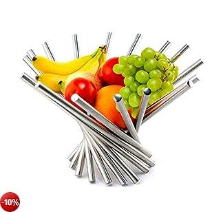 KWODE, cesto per frutta creativo, pieghevole, in acciaio inox, decorazione per cucina, per tavola, argentato, Acciaio inossidabile, Silver, A