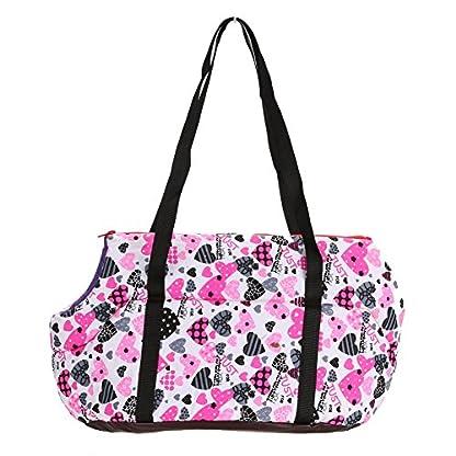 Pet Handbag Dog Canvas Carrier Bag Foldable Washable Travel Carrying Shoulder Bag for Small Medium Pets (S, White) 4