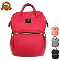 Baby Changing Bag, Tiscen Multi-Function Diaper Bag Backpack, Large Capacity Waterproof Travel Nappy Tote Bags, Red