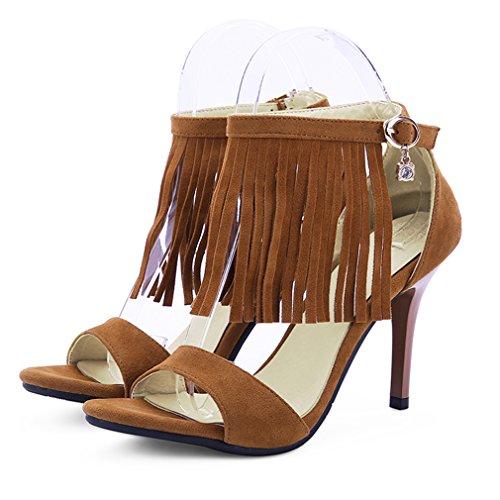 Alla Fine Anello Significa Sandali Caviglia Piattaforma Marrone E Sexy Aperto Donne Frange Con Senza Cinghia Tacchi Elegante L'ago Uh xtwnPP