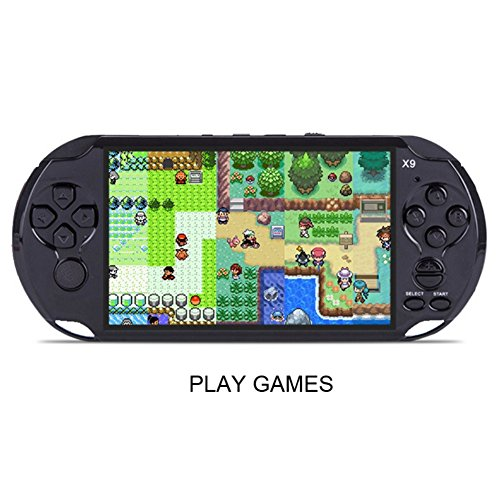 Kasit 1PC X9 Rechargeable 5inch 8G Handheld Retro Game Console Support TV Output With MP3 Movie Camera - Black