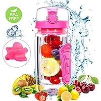 OMORC Bottiglia BPA Free Shaker per Proteine 750ML 2-in-1 con Pallina, Borraccia Infusore Detox, Leak Proof, con Sferina per Mescolare, Portatile per Sport-Rosa
