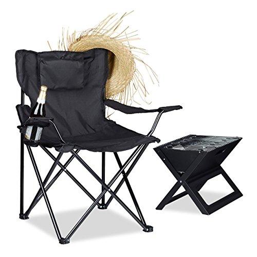 Relaxdays Campingstuhl, Rückenlehne, Armlehnen, Getränkehalter, Polster, Tragetasche, H x B x T: 80 x 79 x 50 cm, schwarz