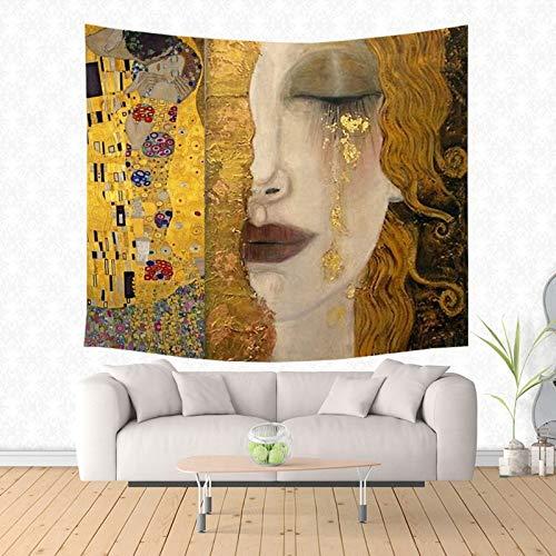 ZGQQQ Gustav Klimt Dipinto Tapestry Hippie Decorativi per La Casa Appeso A Parete Arazzi Spiaggia Yoga Mat Copriletto Copriletto 150 * 200 Cm 4