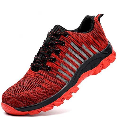 Aizeroth-UK Unisex Hombre Mujer Zapatillas de Seguridad con Punta de Acero Transpirable S3 Zapatos de Trabajo Comodas Calzado de Trabajo Deportivos Botas de Protección Industria Construcción