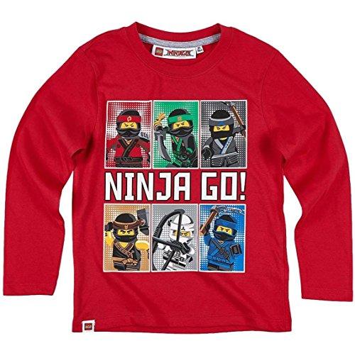 Lego-Ninjago-Kollektion-2017-Langarmshirt-98-104-110-116-122-128-134-140-Shirt-Jungen-Neu-Top-Rot