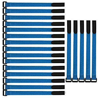 ARTGEAR Fastening Cable Ties - 20 pcs 11.8 Inch Reusable Cable Strap, Adjustable Wire Management Ties, Microfiber Nylon Cloth Hook and Loop (Blue)