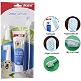 Foodie Puppies Bioline Dental Care Kit Set for Dogs & Puppies - One Long Toothbrush, Two Finger Toothbrushes & Toothpaste Mint Flavour 100g