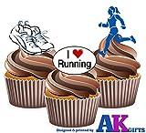 I love Running Läufer weiblich Mix Kuchen Dekorationen–12Esspapier Cup Cake Topper