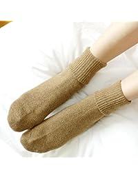 GRHY mujer invierno lana espesar cálida Mujer montón de tubo de algodón calcetines calcetines de Invierno de la Mujer, un tamaño, negro