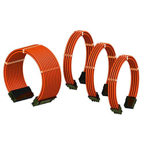 LINKUP PSU Cable Extension Sleeved Custom Mod GPU PC Power Supply Braided w/Comb Kit |1x 24 pin (20+4) | 1x 8 pin (4+4) CPU | 2X 8 Pin (6+2) GPU Set | 30CM 300MM - Orange - 8 Pin Wire