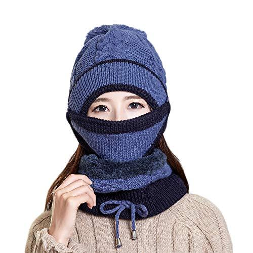 Frauen Strickmütze Schal Set Winter Warm Verdicken Pom Pom Beanie Mütze Cap Outdoor Ski Snowboard Zyklus Hüte mit Fleece-Futter für Damen Mädchen Indoor und Outdoor,Blue,3piecesuit -