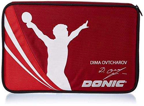Donic-Schildkröt Schlägerhülle Ovtcharov Plus Quadratisch, Gepolstert, Incl. Ballfach, 818539 Tischtennis Hülle, Rot/Orange, M