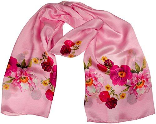 Zarter Seidenschal CARMINA Rosa Floral bedruckt von GOLDGEWEIH 50x180 100% Seide Beeren Blumen Pink -
