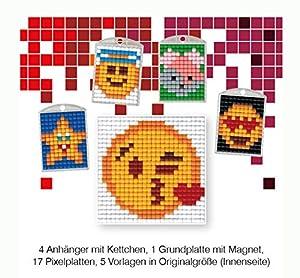 Pracht Creatives Hobby P90041-63501 - Juego de Manualidades de píxeles, 20 para 4 medallones, Llavero, para niños, niños y niñas, Ideal como pequeño Regalo, para cumpleaños Infantiles
