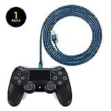 EXINOZ® 2m Geflochtenes Ladekabel für PS4 DualShock und Xbox One Controller | Ideale Länge Xbox und PS4 Controller Ladekabel | Kabel mit 1 Jahr Umtauschgarantie (1 Packung, Blau)