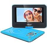 """ieGeek- 12.5"""" Reproductor de DVD MP3 CD Multimedia Video Portátil (Batería interna , 2500mAh, USB, SD) con cargador de coche y joystick de juego, azul"""