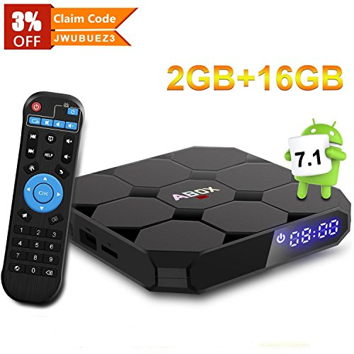 Android 7.1 TV Box, Abox A1 Max 64 Bit Viererkabel-Kern Intelligenter Fernsehkasten mit 2GB RAM 16GB ROM Amlogic S905w Streaming Media Player Unterstützt 1080p/4K volles HD Spielen