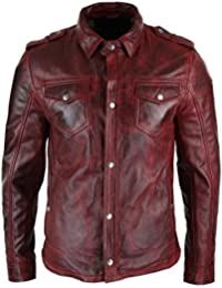 Veste homme cuir véritable marron clair délavé coupe cintrée boutonnée  rétro décontracté fbdef68df3b