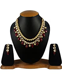 Aradhya Stylish Kundan With Maroon Stone And Shining Beige Pearl Necklace Set With Earrings For Women And Girls