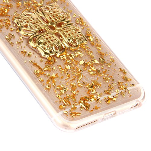 iPhone 6 Hülle,iPhone 6s Case,iPhone 6 Bling Case - Felfy Ultradünne Transparent Gel TPU Silikon Diamond Skin Bling Glitte Kristall Schutzfolie Glitzer Silber Silikon Crystal Case Durchsichtig Schutzh Golden Case uadrilateral Blume