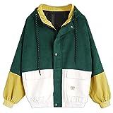 Moonuy,Damen Long Sleeve Hoodies, Damen Cord Patchwork Oversize Zipper Jacke Windbreaker Crop Mantel Lässige Mantel für Party, Beach Damen Mädchen Sweatshirt (Grün, EU 38 / Asien L)