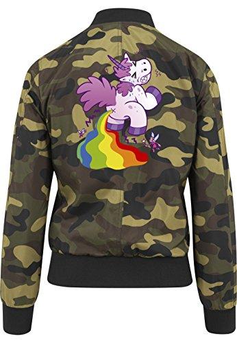 Pooping Unicorn Bomberjacke Girls Camouflage Certified Freak-XS
