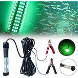 Lixada 10W 180 LED Subacuático Sumergible Luz de Pesca Nocturna (Verde) Pesca Submarina Luz de Peces 12V Luz Sumergible con C