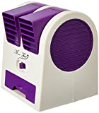 #6: Sethi Traders USB And Battery Powered Mini Portable Dual Blower Desk Table Plastic Air Cooler Fan In White and Purple Color