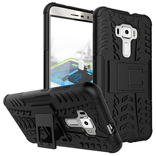 Asus Zenfone 3 ZE552KL (5.5 Inch) Back Cover , Triton [Kickstand] [Heavy Duty Protection] [Dual Layer] Slim Fit Hybrid Shock Proof Protective Back Case for Asus Zenfone 3 ZE552KL (5.5 Inch) - Black