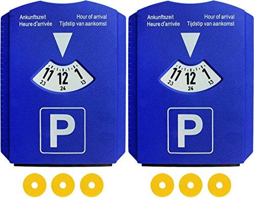 2er Set Parkscheibe mit 3 Einkaufswagen-Chips, Parkuhr fürs Auto aus Kunststoff, Blau, M&H-24 (Eis-blau-leder)