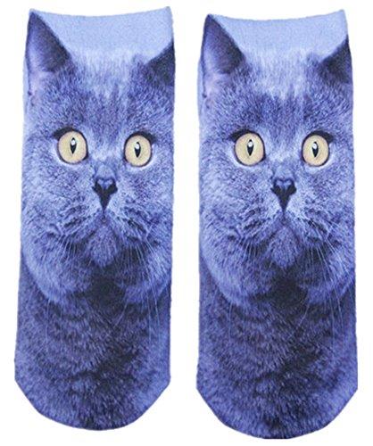 KAIKSO-IN 3D gedruckte Tier Frauen lässig Socken nette Katze Unisex: Low-Cut-Söckchen neu (j) (Low-cut-socken)