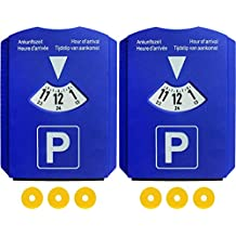 2er Set Parkscheibe mit 3 Einkaufswagen-Chips, Parkuhr fürs Auto aus Kunststoff, Blau, M&H-24