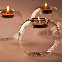 ZHUOTOP Chandelier Circulaire en Cristal, Accessoires de Dîner aux Chandelles, Décoration de Mariage, d'Anniversaire en Verre Résistant à la Chaleur