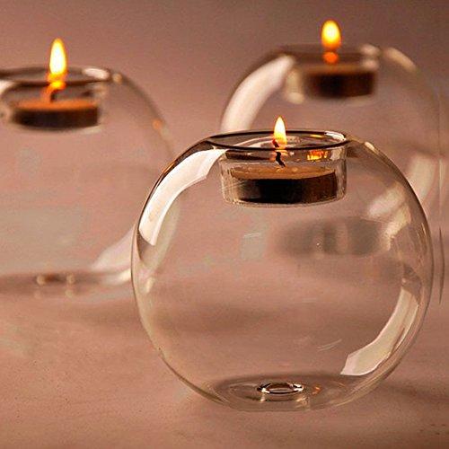 ZHUOTOP Chandelier Circulaire en Cristal, Accessoires de Dîner aux Chandelles, Décoration de Mariage, d'Anniversaire en Verre Résistant à la Chaleu