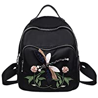 Ladies Girls Backpack, Meliya Rose Flowers Dragonfly Embroidery Daypacks Durable Oxford Shoulder Bag Travel Daypack School Bag