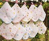 Bluelover 10Pcs Baumwolle Musselin Baby Mull Waschlappen Fütterung Wischen Schweiß Handtuch