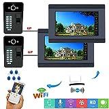 Campanello video WiFi cablato/wireless da 7 pollici, sensore di password RFID 2 impronte digitali con 2 telecamere HD Visione notturna, citofono APP remoto, sblocco