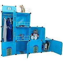 Niños castillo armario Estantería infantil Niños dormitorio armario ordenado cajas de juguete unidades DIY almacenamiento cubículo armario organizador - Castillo Azul