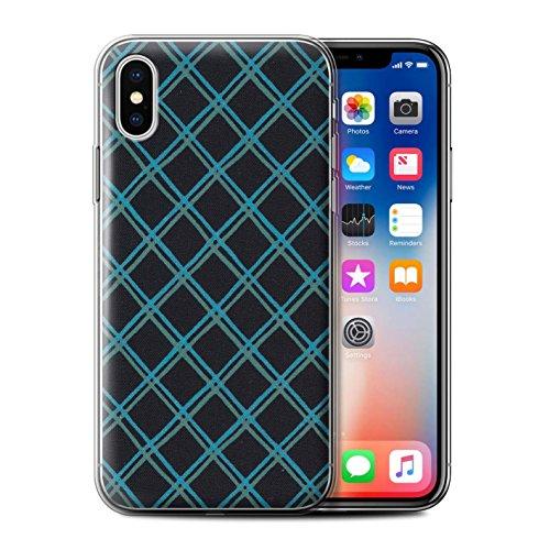 Stuff4 Gel TPU Hülle / Case für Apple iPhone X/10 / Rosa/Rot Muster / Kreuz Muster Kollektion Blau/Schwarz