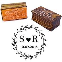 Custom madera montado sello de caucho personalizado redonda monograma sello regalo de compromiso, color Brown Wood 5 cm