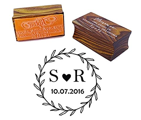 Custom Wood Mounted Rubber Stamp Personalized Round Monogram Stamp Engagement Gift