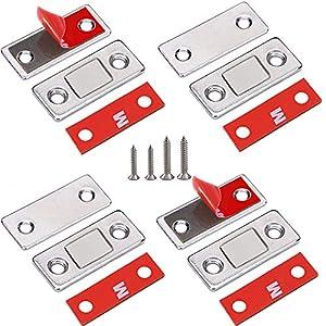 Magnetschnäpper Schranktür Magnet Jiayi 4 Stück Ultra Dünn Tür Fang Magnet Schublade Selbstklebend Tür Magnetverschluss Möbelmagnet Türverschluss für Kabinett Balkontü Schiebetür Magnetschloss